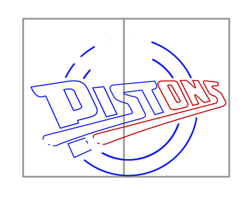 Learn easy to draw detroit pistons step 04