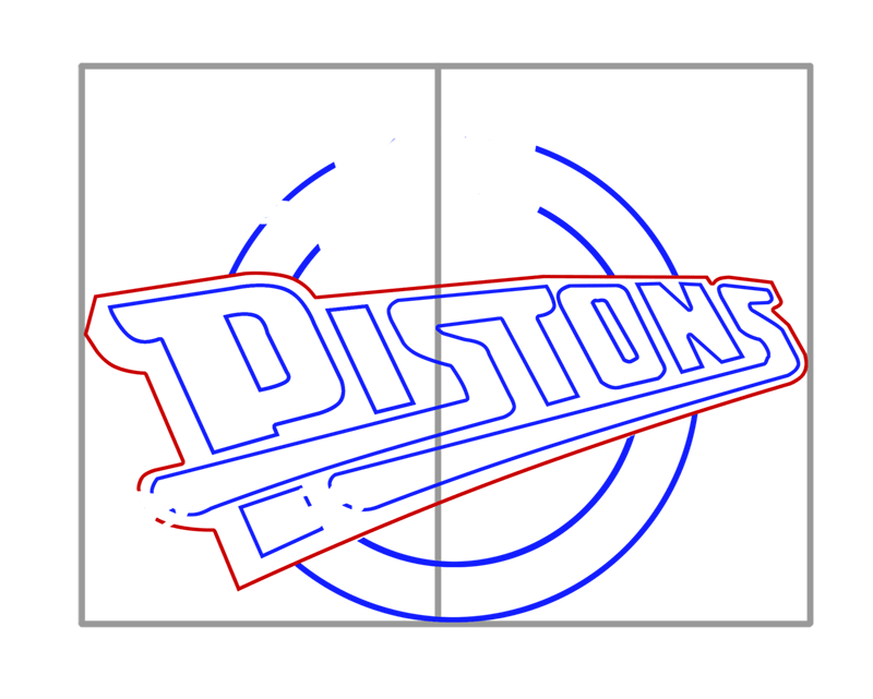 Learn easy to draw detroit pistons step 05