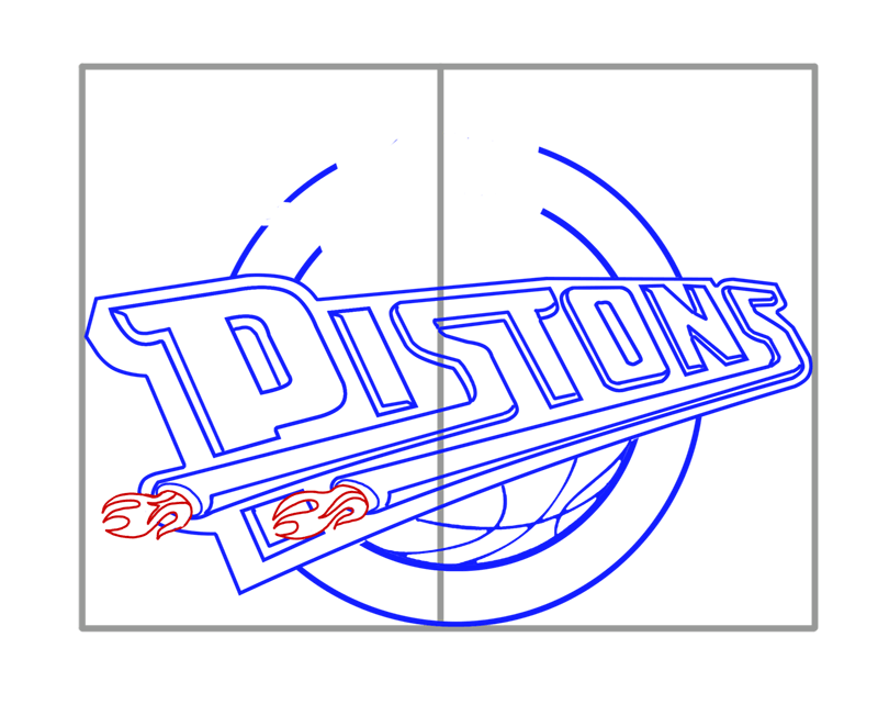 Learn easy to draw detroit pistons step 07
