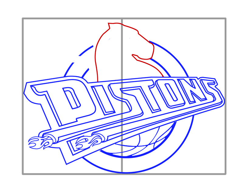 Learn easy to draw detroit pistons step 08