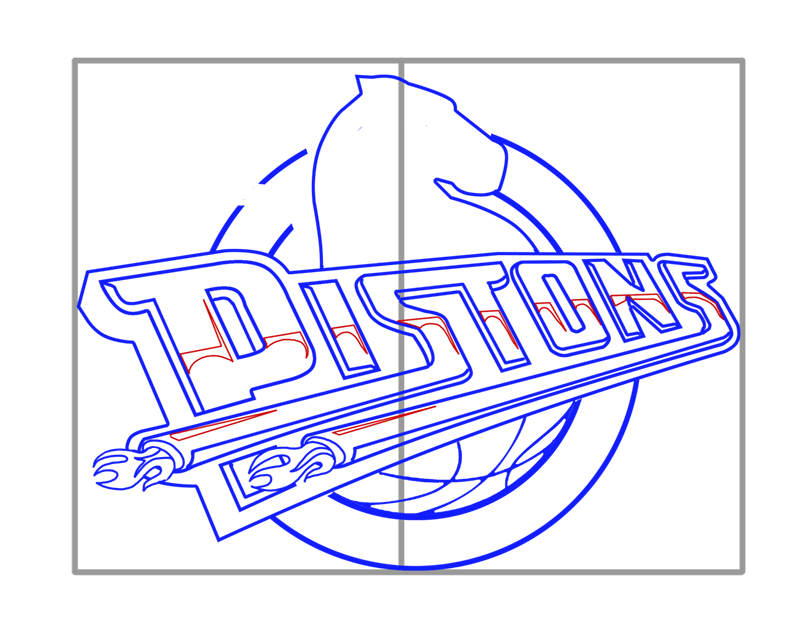 Learn easy to draw detroit pistons step 09
