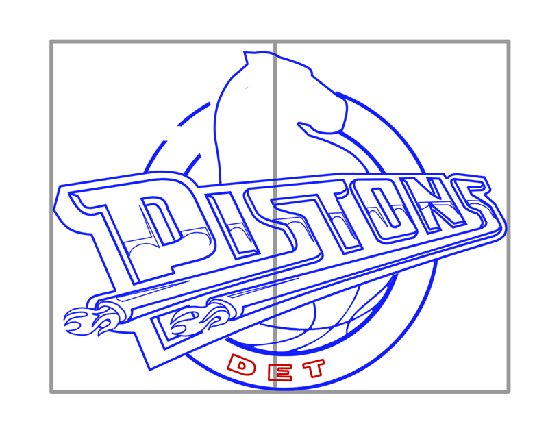 Learn easy to draw detroit pistons step 10