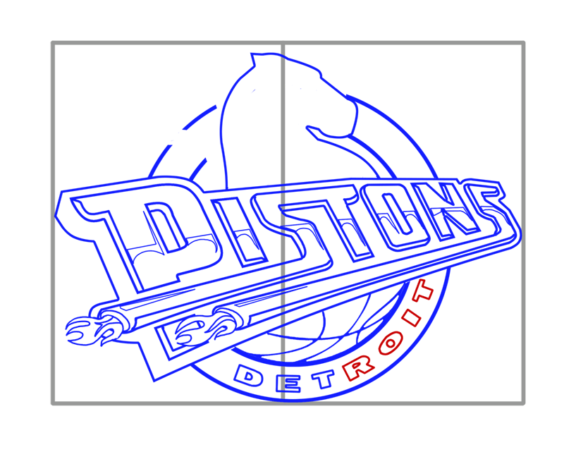 Learn easy to draw detroit pistons step 11