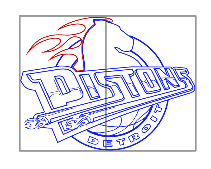 Learn easy to draw detroit pistons step 12