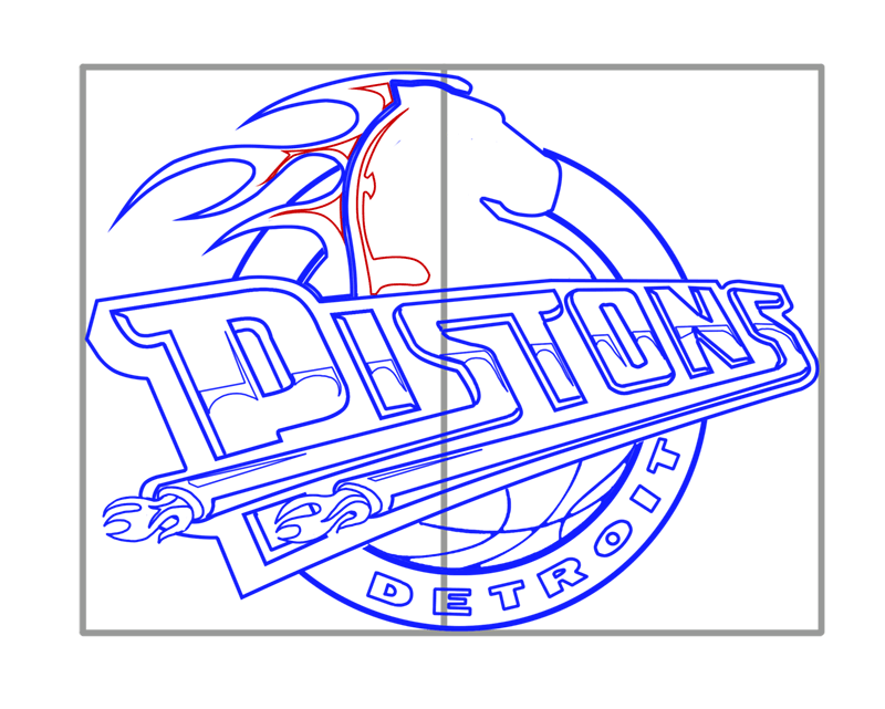 Learn easy to draw detroit pistons step 13