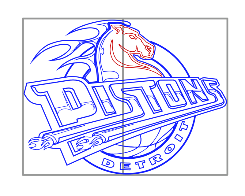 Learn easy to draw detroit pistons step 14