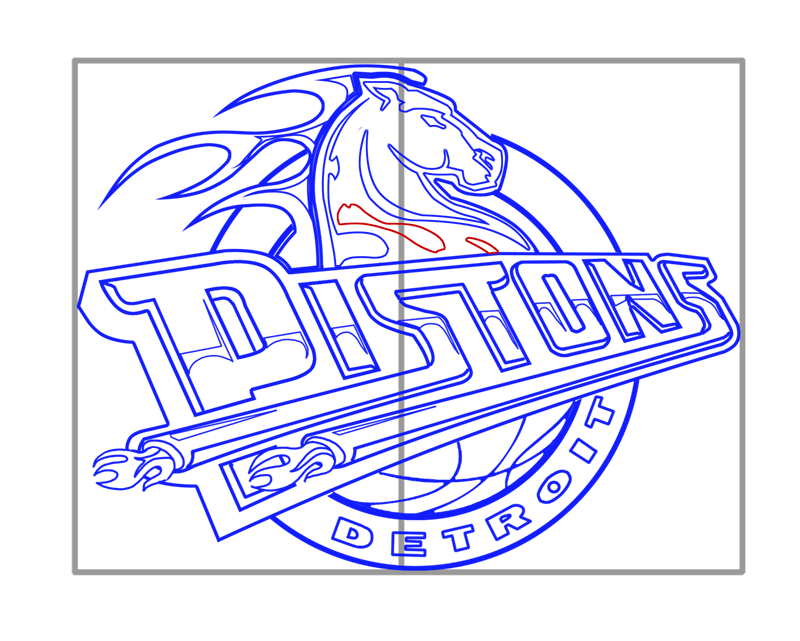 Learn easy to draw detroit pistons step 15