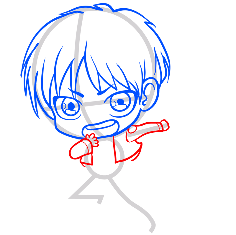 Learn easy to draw eren chibi step 05