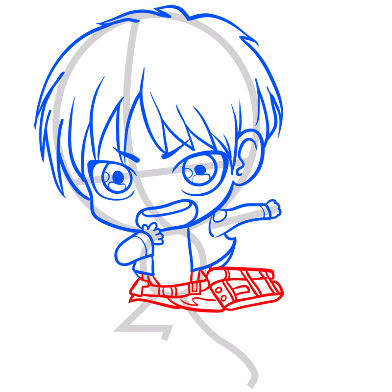 Learn easy to draw eren chibi step 06