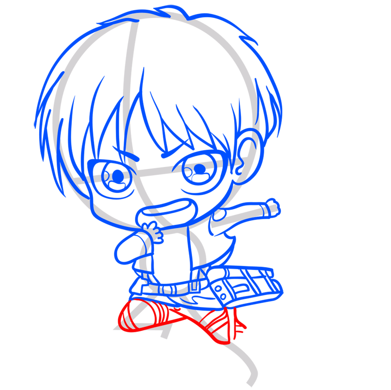 Learn easy to draw eren chibi step 07