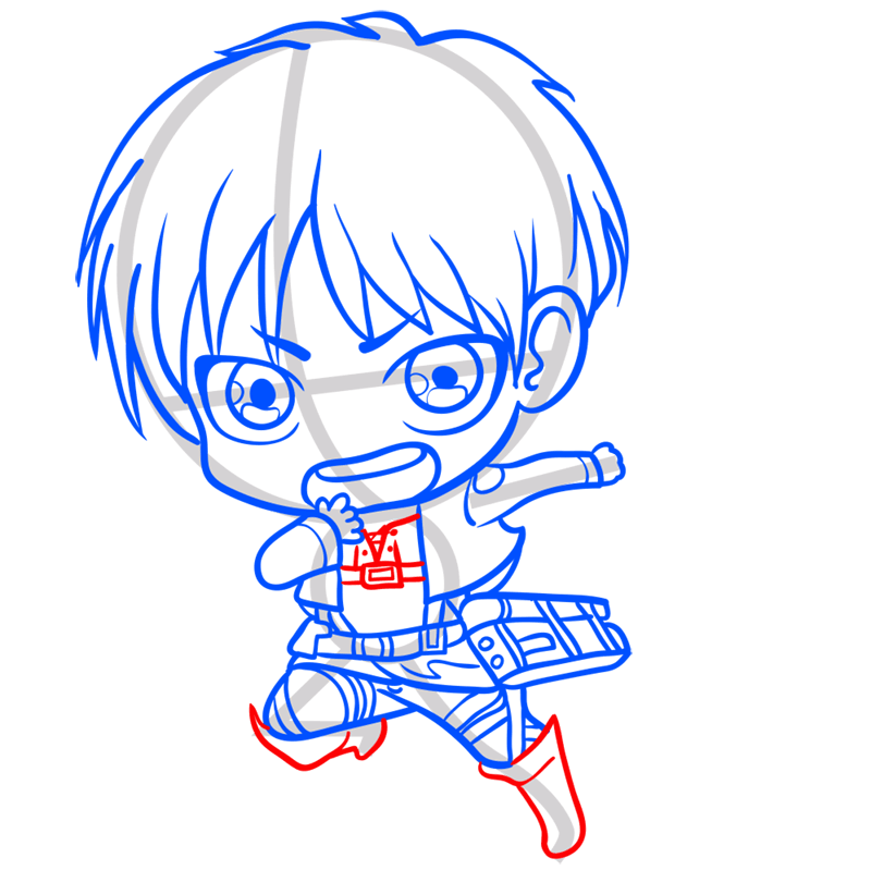 Learn easy to draw eren chibi step 08