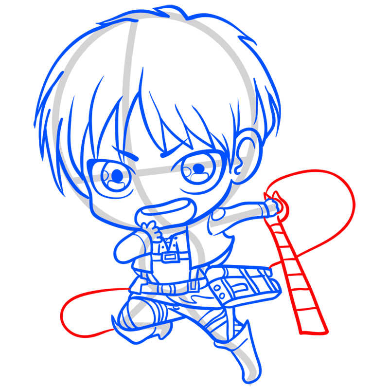 Learn easy to draw eren chibi step 09