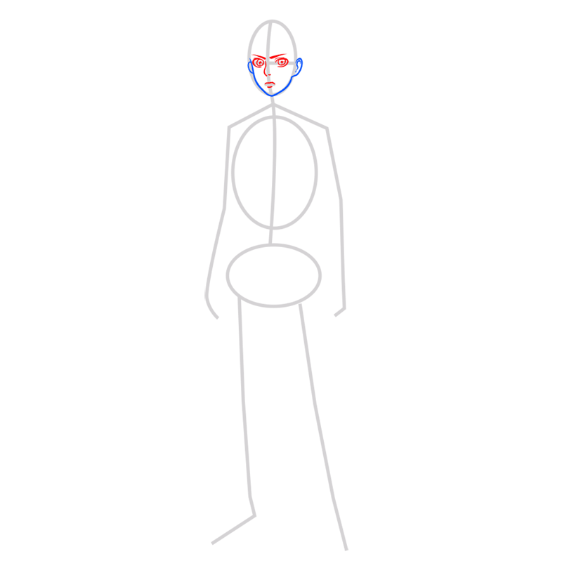 Learn easy to draw eren jaeger step 03