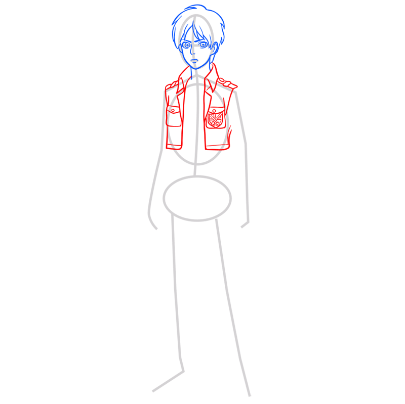 Learn easy to draw eren jaeger step 05