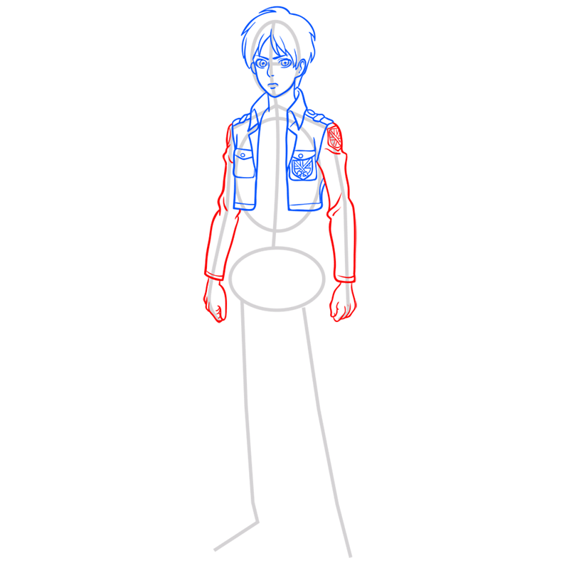 Learn easy to draw eren jaeger step 06