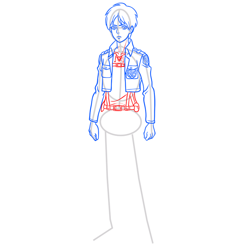 Learn easy to draw eren jaeger step 07
