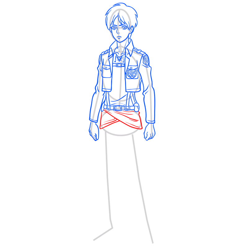 Learn easy to draw eren jaeger step 08