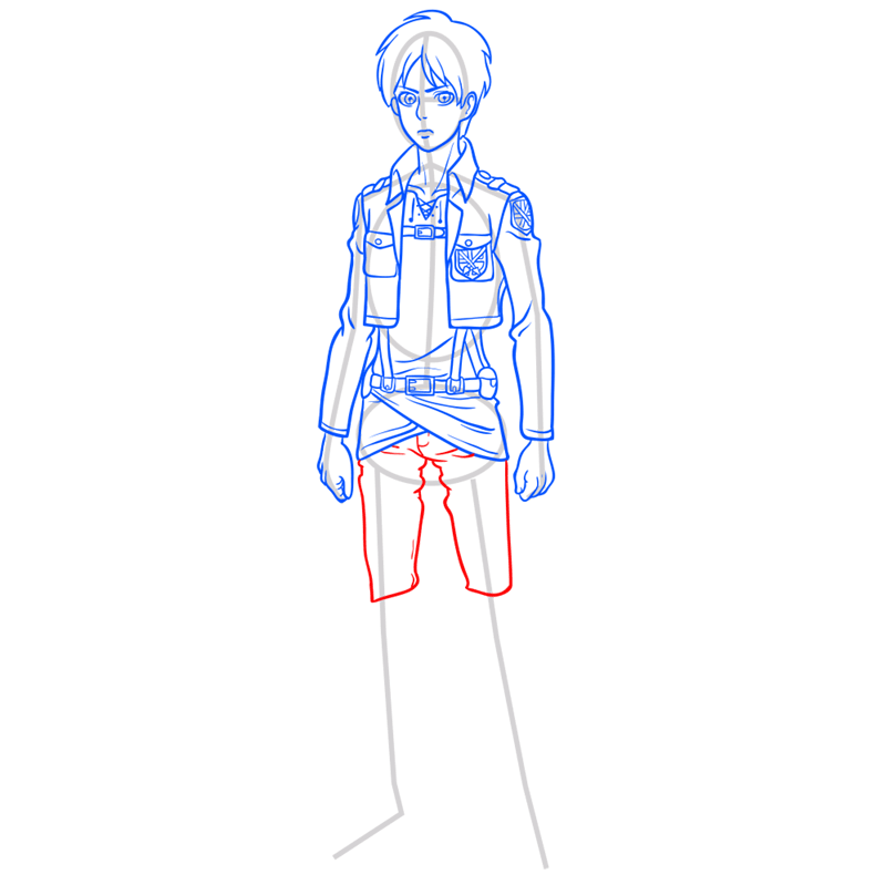 Learn easy to draw eren jaeger step 09