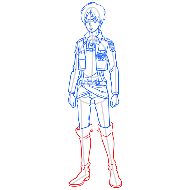 Learn easy to draw eren jaeger step 10