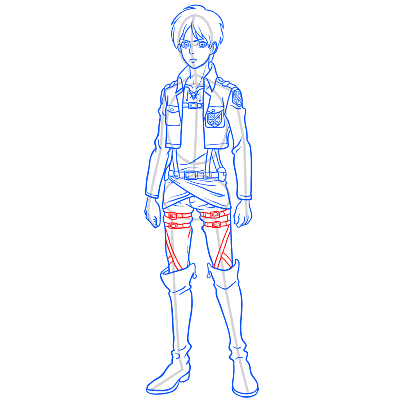 Learn easy to draw eren jaeger step 11