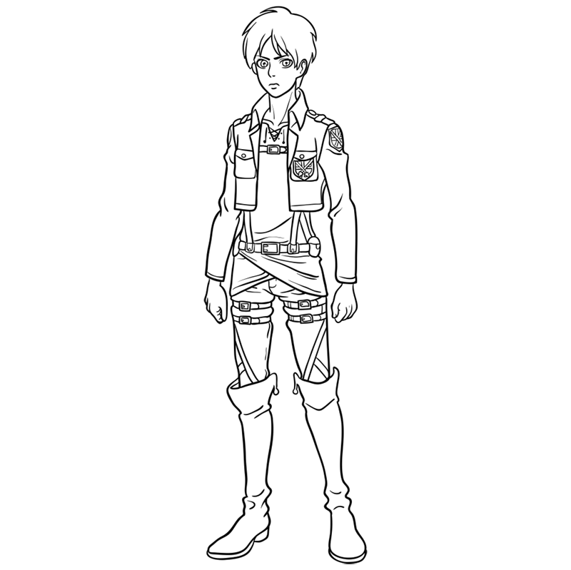 Learn easy to draw eren jaeger step 12