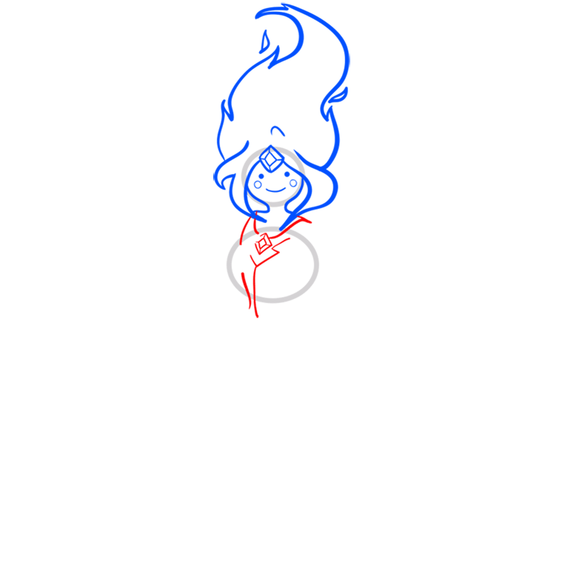 Learn easy to draw flame princess step 05