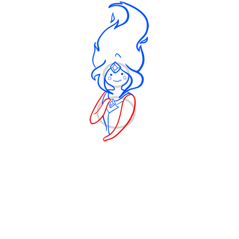 Learn easy to draw flame princess step 06