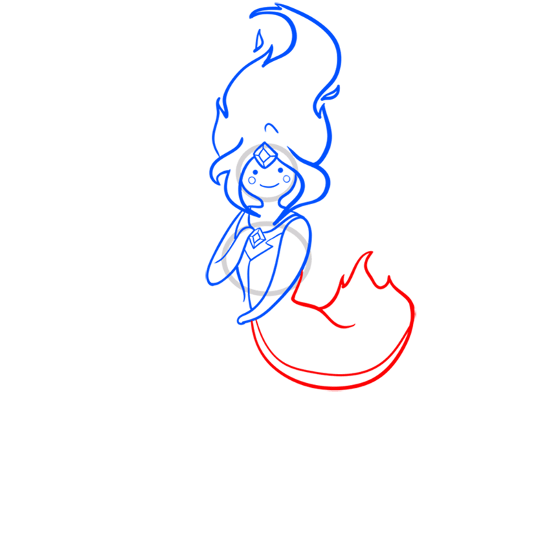 Learn easy to draw flame princess step 07