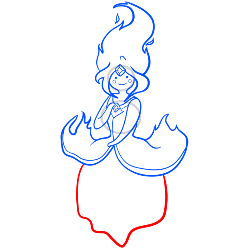 Learn easy to draw flame princess step 09
