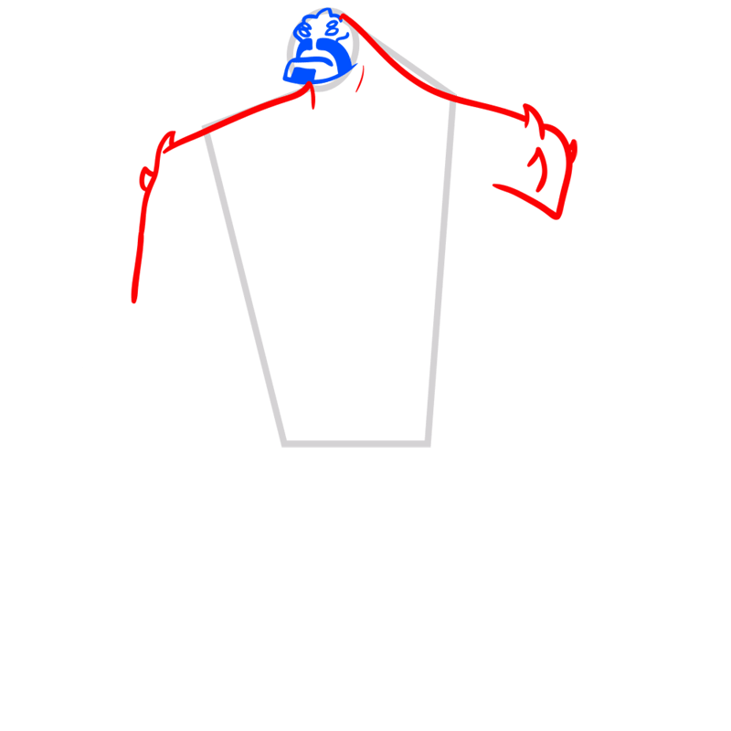 Learn easy to draw four arms step 03