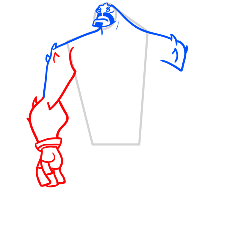 Learn easy to draw four arms step 04