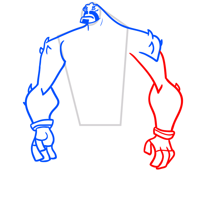 Learn easy to draw four arms step 05