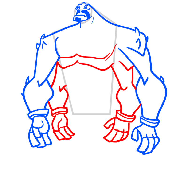 Learn easy to draw four arms step 06