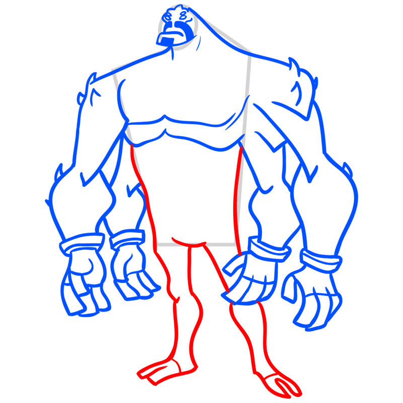 Learn easy to draw four arms step 07