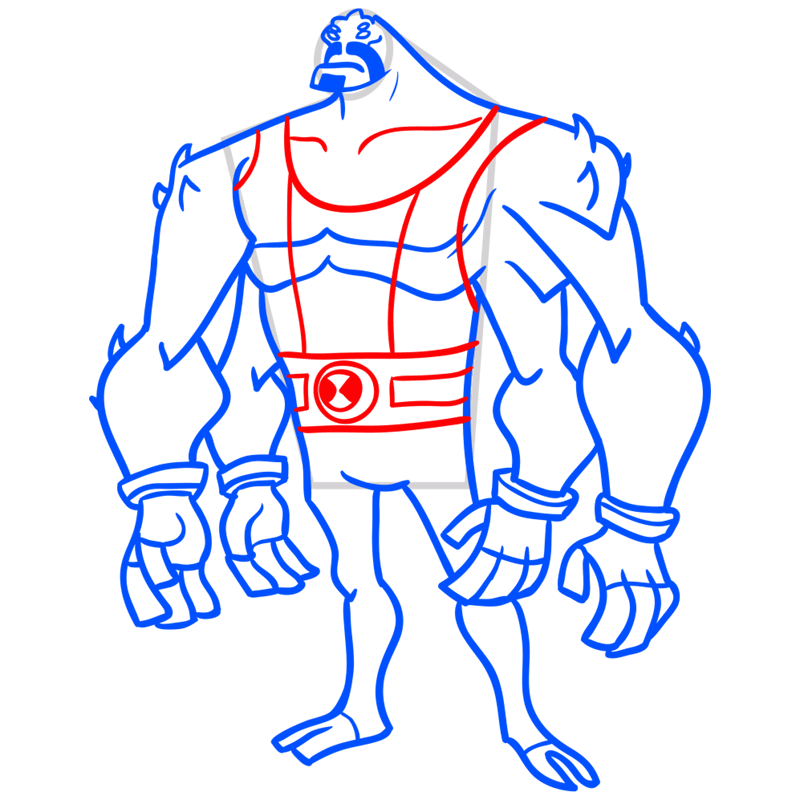 Learn easy to draw four arms step 08