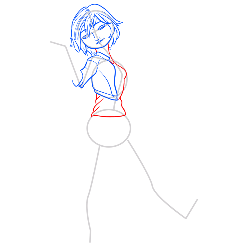 Learn easy to draw gogo tomago step 06