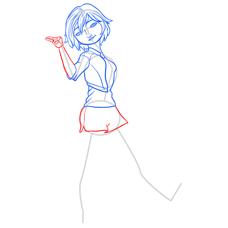 Learn easy to draw gogo tomago step 07