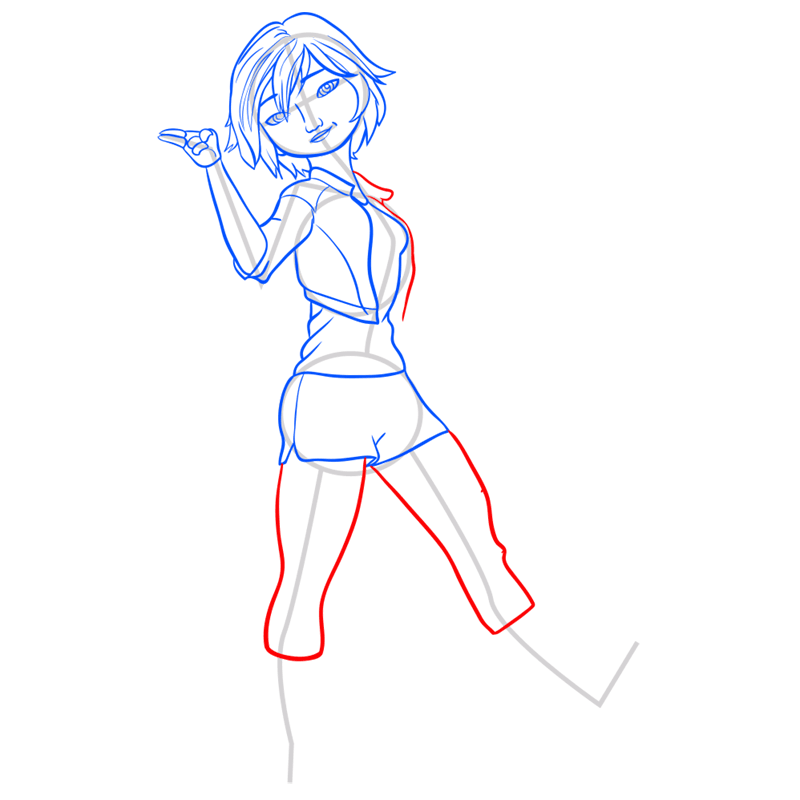 Learn easy to draw gogo tomago step 08