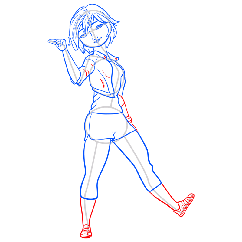 Learn easy to draw gogo tomago step 09