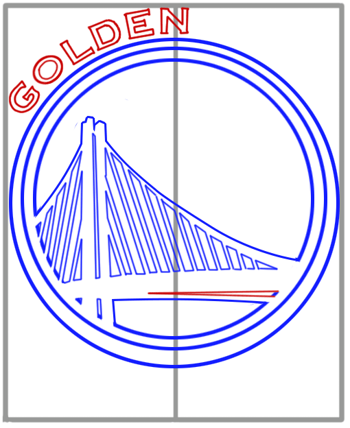 Learn easy to draw golden state warriors step 08