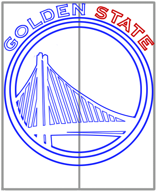 Learn easy to draw golden state warriors step 09