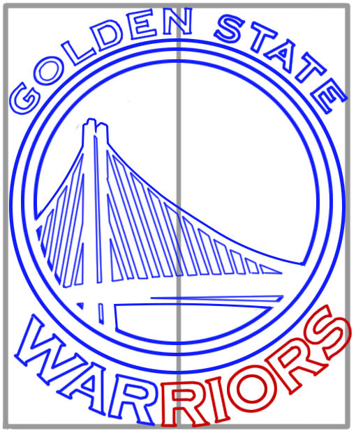 Learn easy to draw golden state warriors step 11