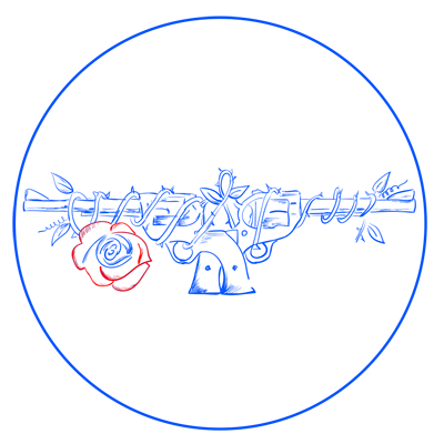 Learn easy to draw guns n roses step 12