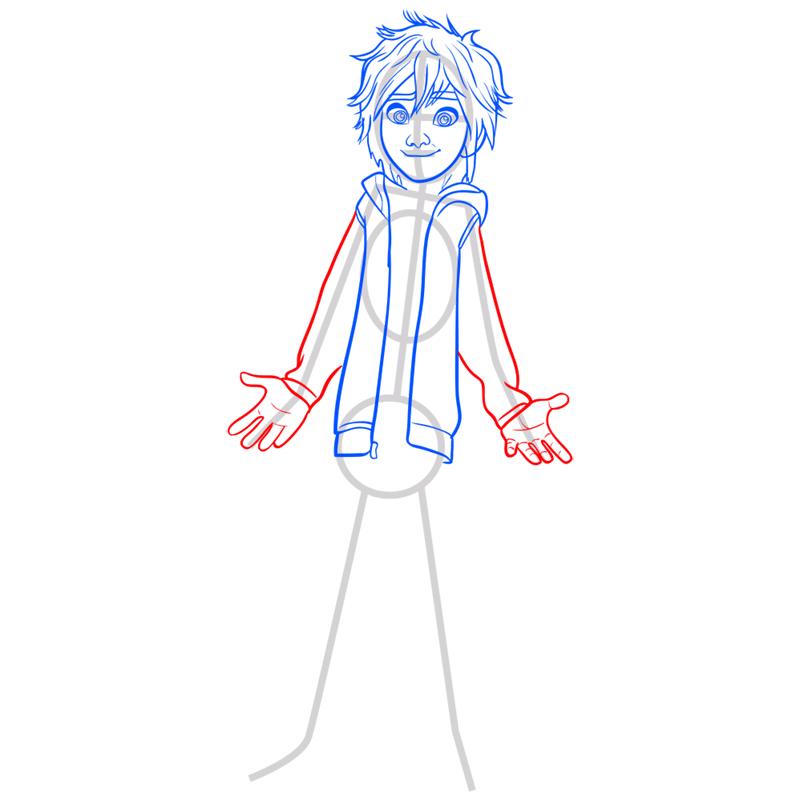 Learn easy to draw hiro hamada step 06