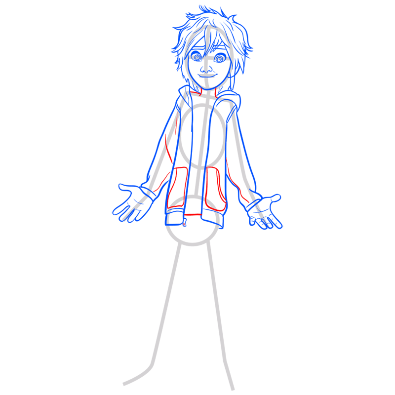 Learn easy to draw hiro hamada step 07