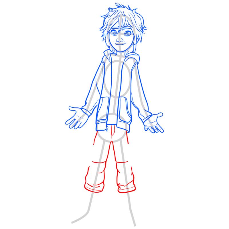 Learn easy to draw hiro hamada step 08