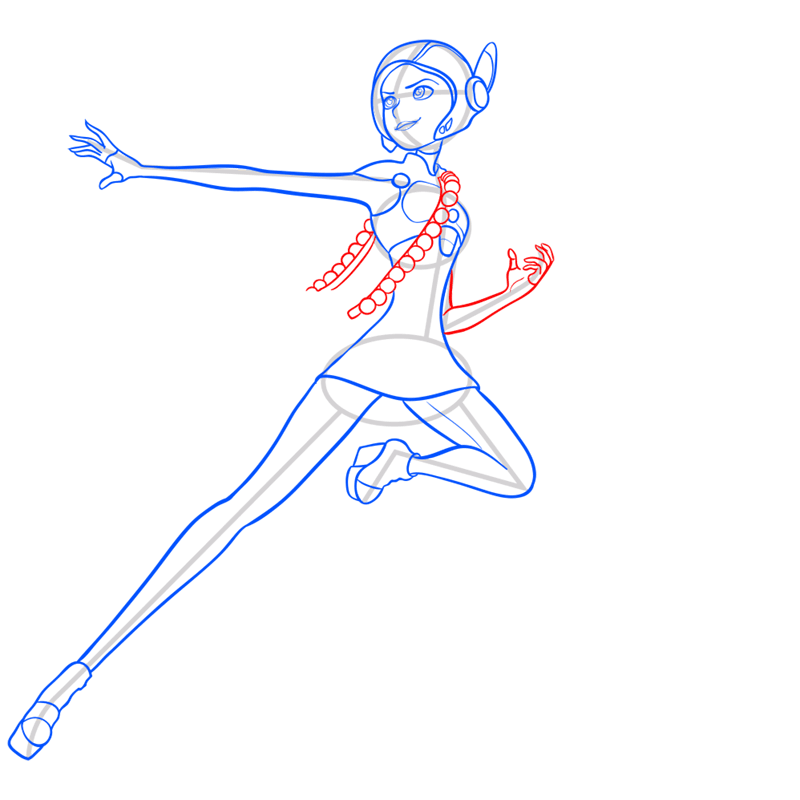 Learn easy to draw honey lemon in suit step 09
