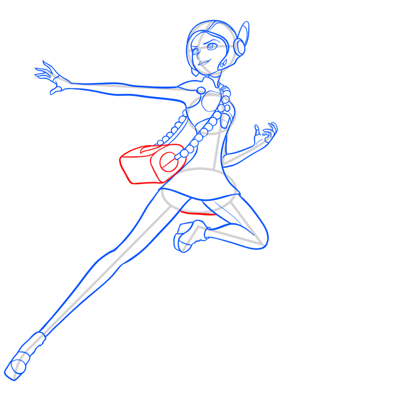 Learn easy to draw honey lemon in suit step 10