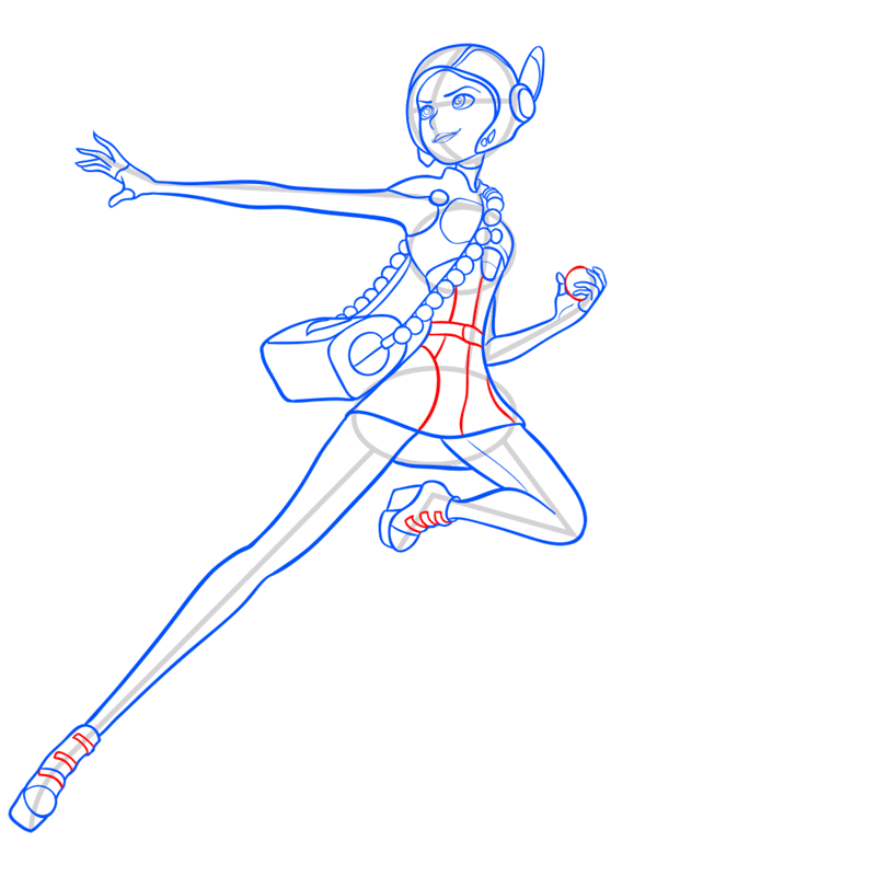 Learn easy to draw honey lemon in suit step 11
