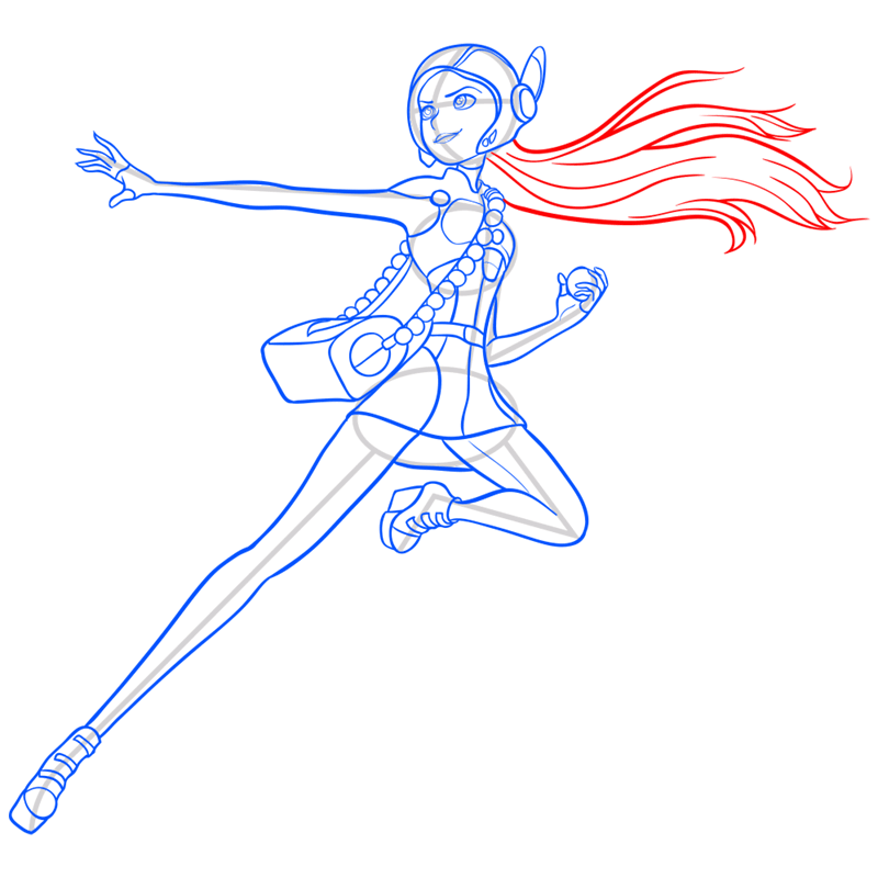 Learn easy to draw honey lemon in suit step 12